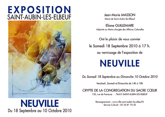 Invitation Exposition NEUVILLE à Saint-Aubin-lès-Elbeuf